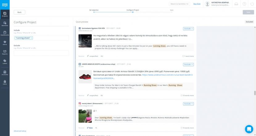 Create social media monitoring project in SentiOne tool