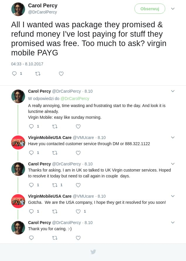 Social customer care Virgin Mobile US UK confusion example