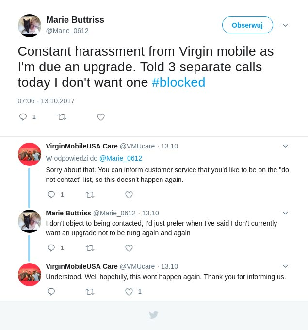 Social customer support Virgin Mobile negative feedback example