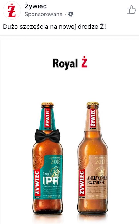 Żywiec kampania Ż - Royal Ż z okazji Royal Wedding 2018