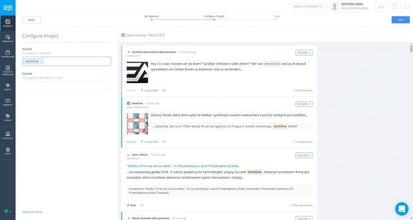 Konfigurace projektu pro sledování značky v sociálních sítích v nástroji SentiOne