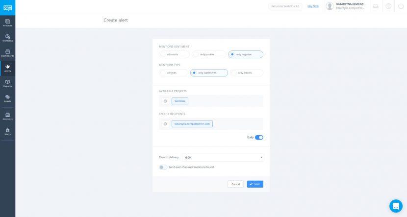 Közösségimédia-jelzés létrehozása a SentiOne megoldásban