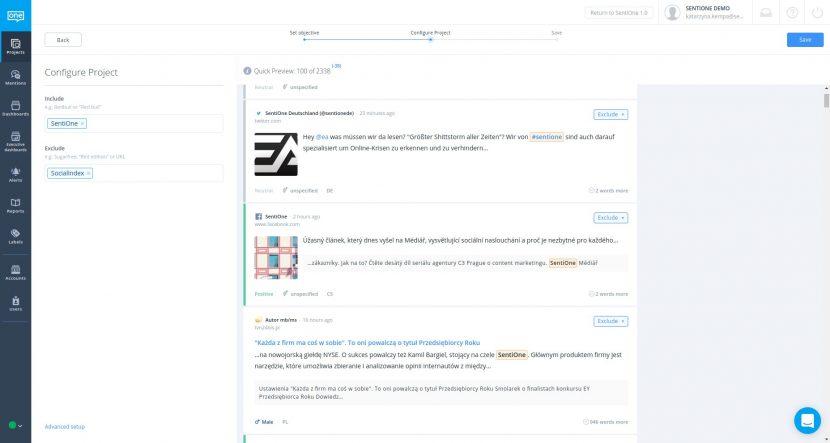 Márka közösségi figyelési projektjének konfigurálása a SentiOne platformon