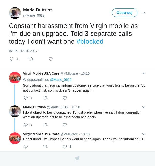 Przykład reakcji obsługi klienta w mediach społecznościowych na negatywną opinię – Virgin Mobile