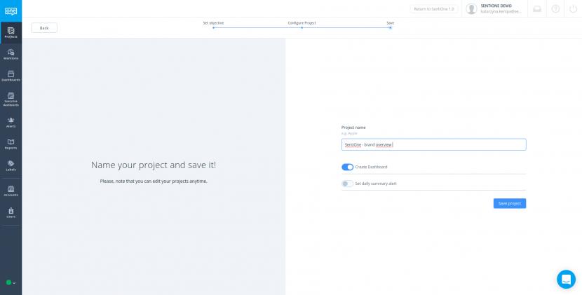 Uložení projektu sledování značky v aplikaci SentiOne