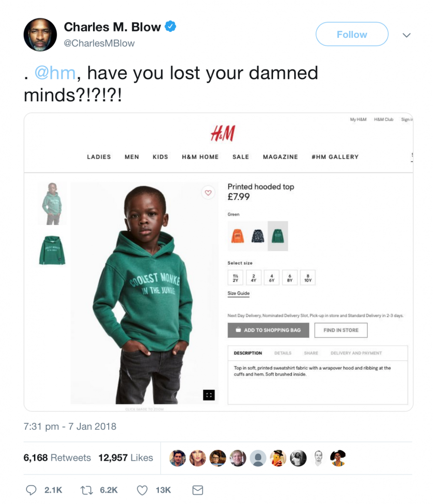 "Charles M. Blow tweet to H&M "". @hm, have you lost your damned minds?!?!?!"" as a reaction to H&M ""Coolest monkey in the jungle"" hoodie social media crisis"