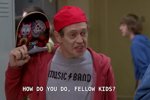 A picture of Steve Buscemi, greeting fellow youngsters