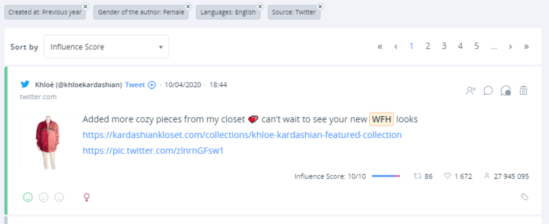 A tweet by Khloe Kardashian reigns supreme in our results.