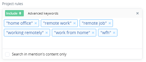 """The keywords used in this project: """"home office"""", """"remote work"""", """"remote job"""", """"working remotely"""", """"work from home"""", """"wfh"""""""