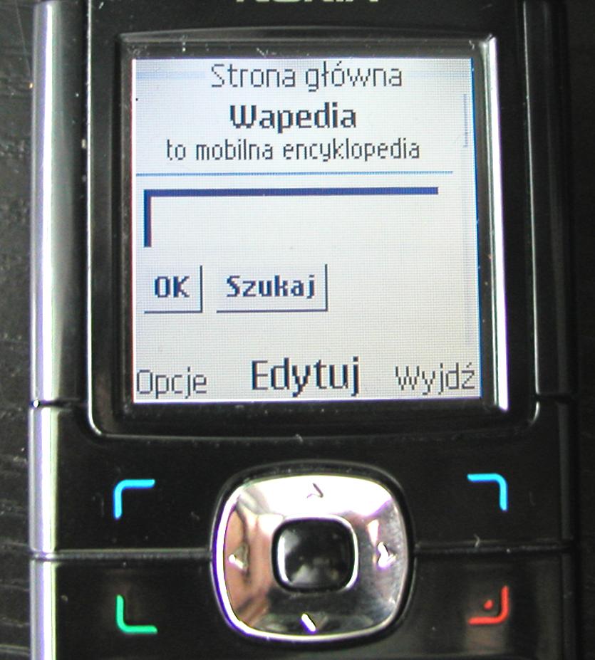 Zdjęcie starego telefonu Nokia wyświetlającego stronę główną Wapedii