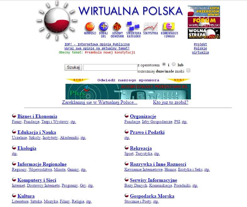Strona główna Wirtualnej Polski w 1996 roku. Zamiast wiadomości z kraju i ze świata - katalog stron na przeróżne tematy.