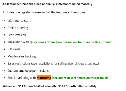 An example article reflecting Mailchimp's pricing.