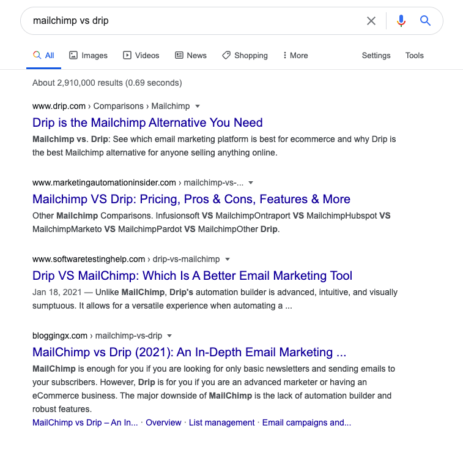"""The Google search results for the """"Mailchimp vs. Drip"""" keyphrase. Drip owns the #1 result."""