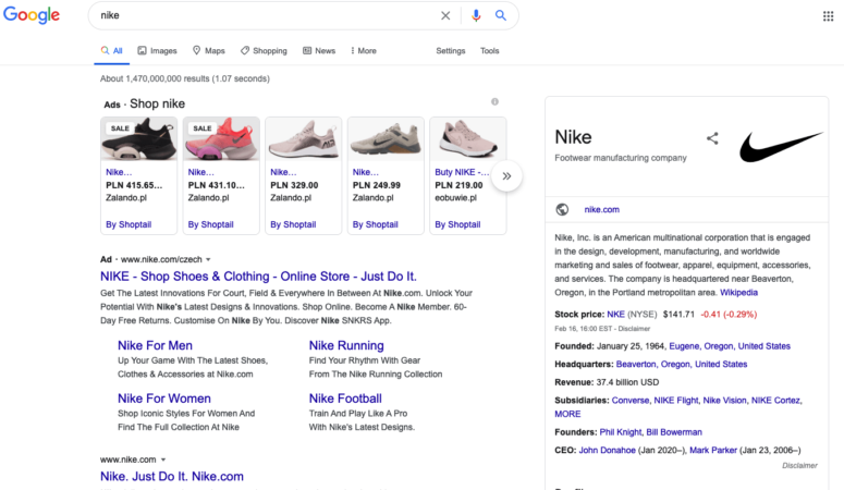 The Google search results for Nike.