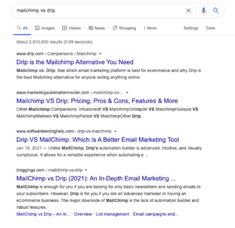 """The google results for the phrase """"Mailchimp vs Drip"""""""